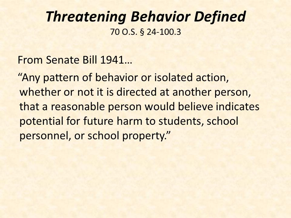 Threatening Behavior Defined 70 O.S. §