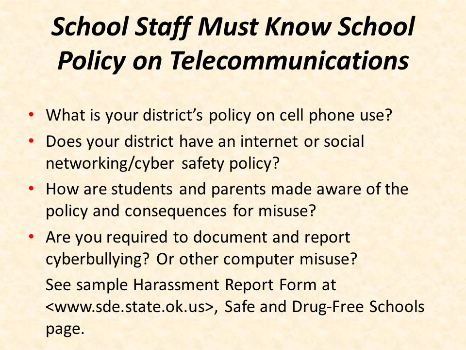 School Staff Must Know School Policy on Telecommunications