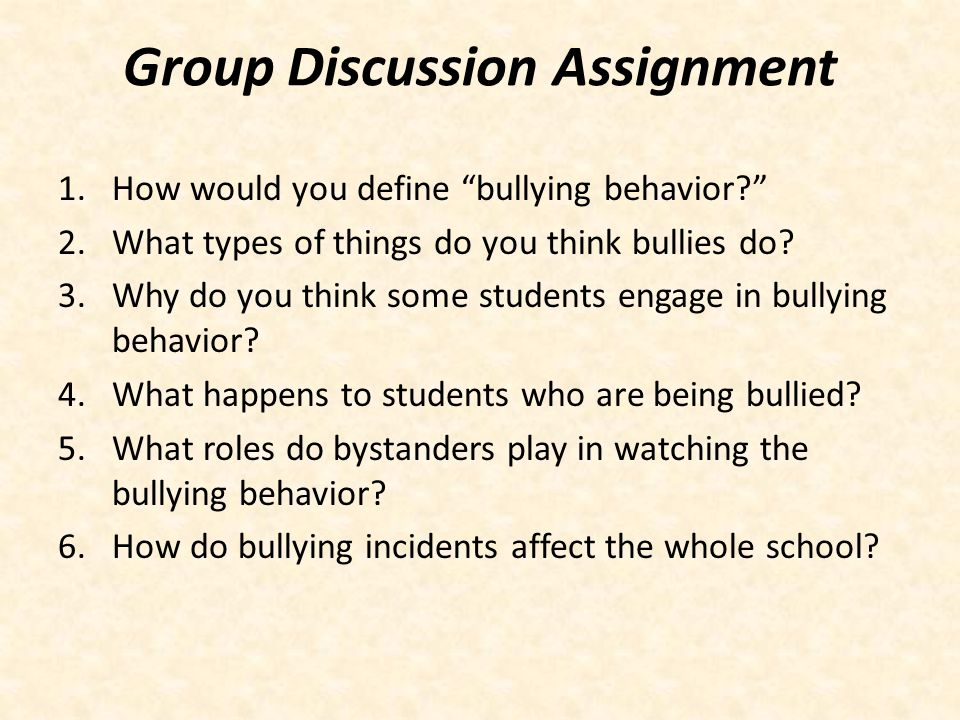 Group Discussion Assignment