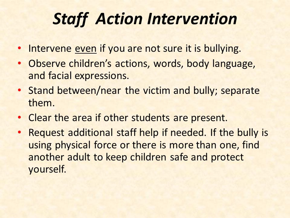Staff Action Intervention