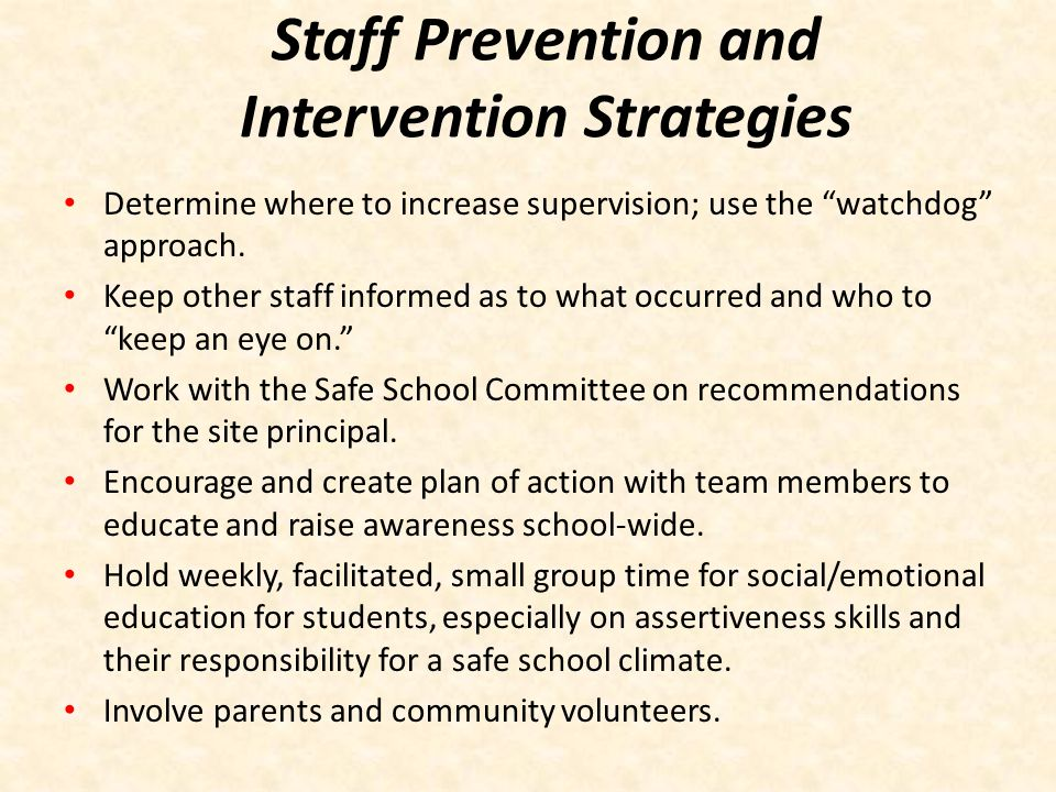 Staff Prevention and Intervention Strategies