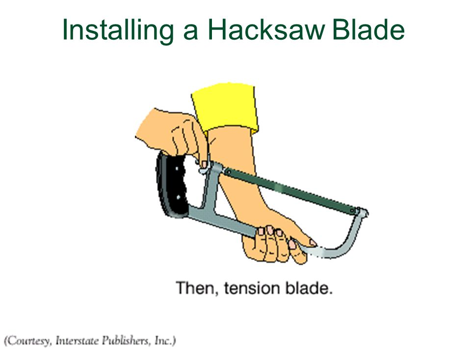 Using metal cutting processes and techniques ppt download 41 installing a hacksaw blade keyboard keysfo Gallery