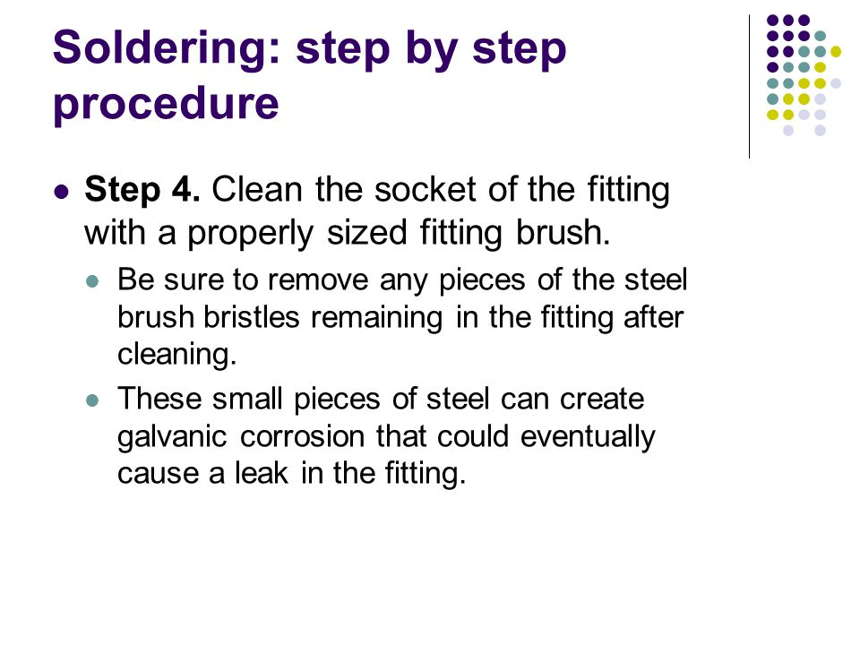 Soldering: step by step procedure