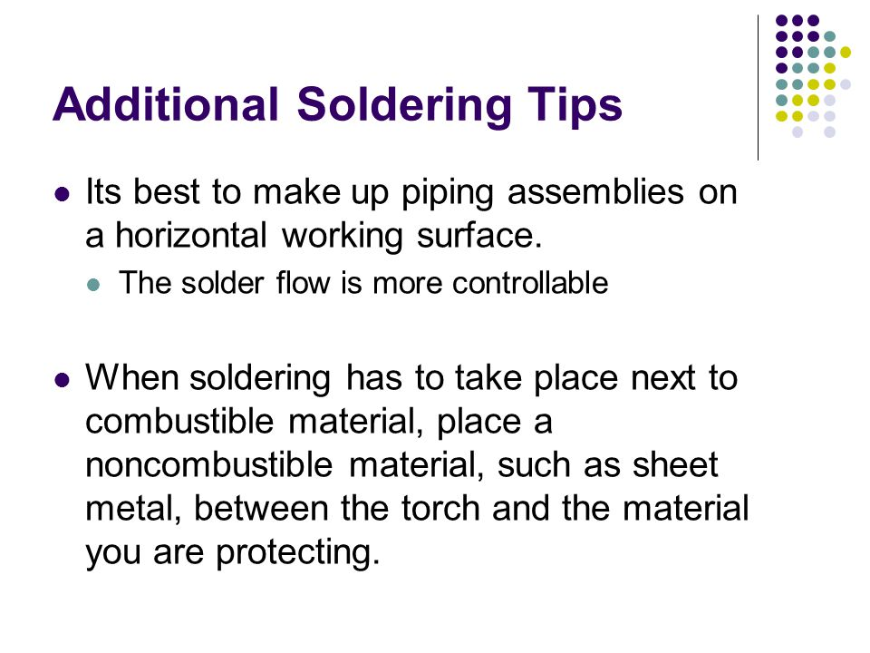 Additional Soldering Tips
