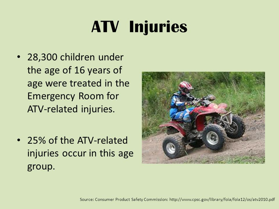 ATV Injuries 28,300 children under the age of 16 years of age were treated in the Emergency Room for ATV-related injuries.