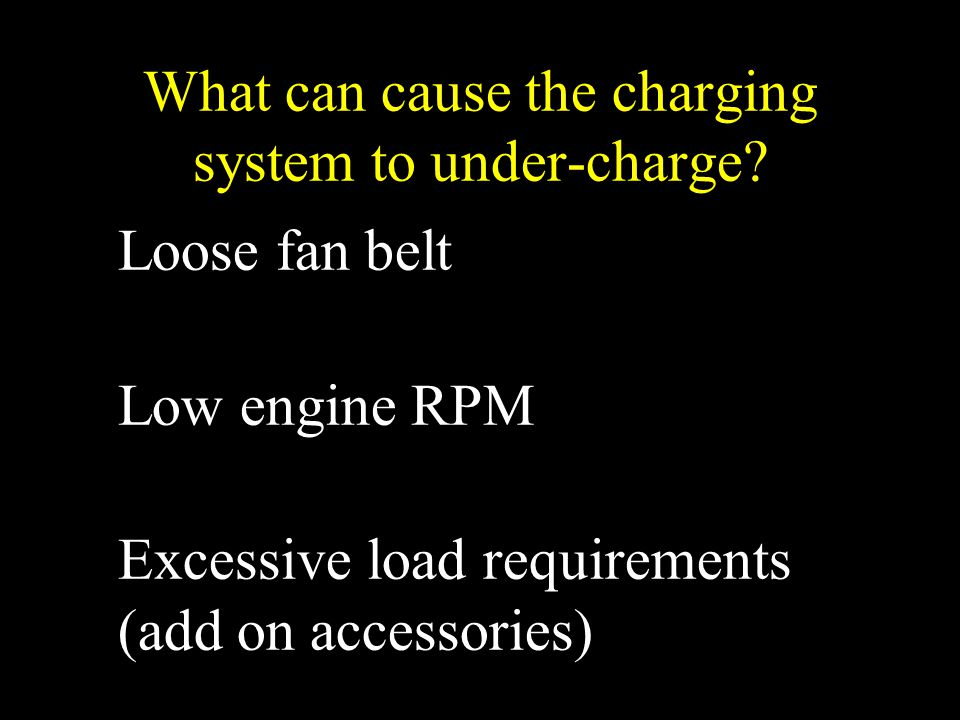What can cause the charging system to under-charge