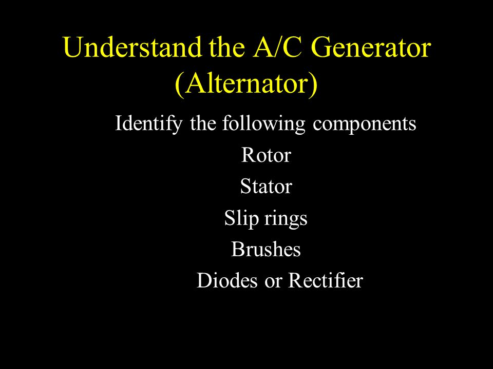Understand the A/C Generator (Alternator)