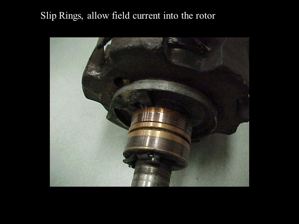 Slip Rings, allow field current into the rotor