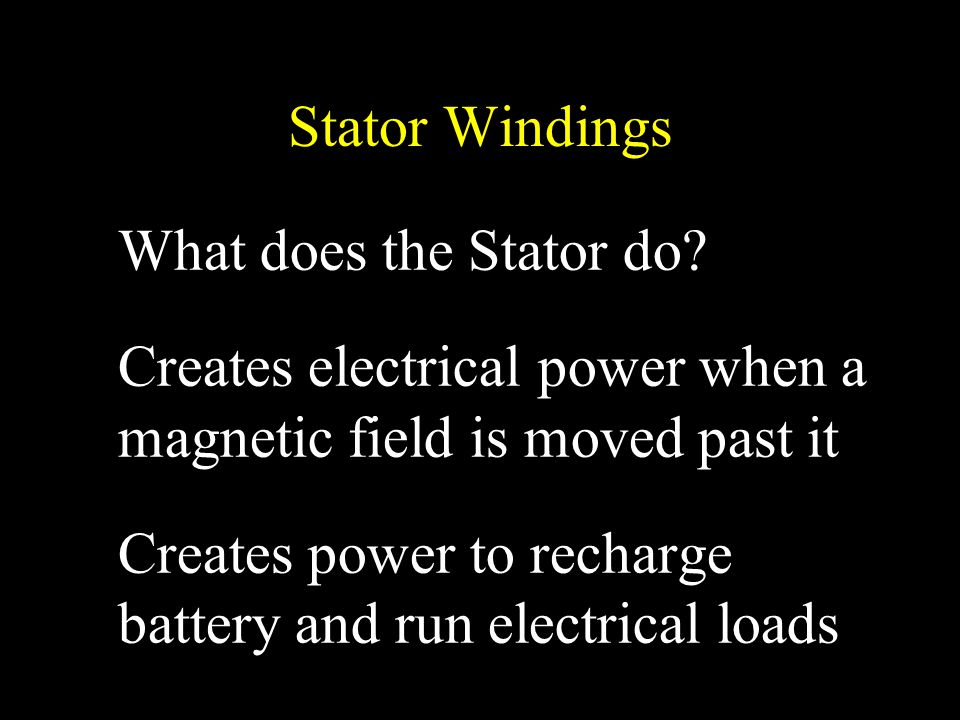 Stator Windings What does the Stator do Creates electrical power when a magnetic field is moved past it.