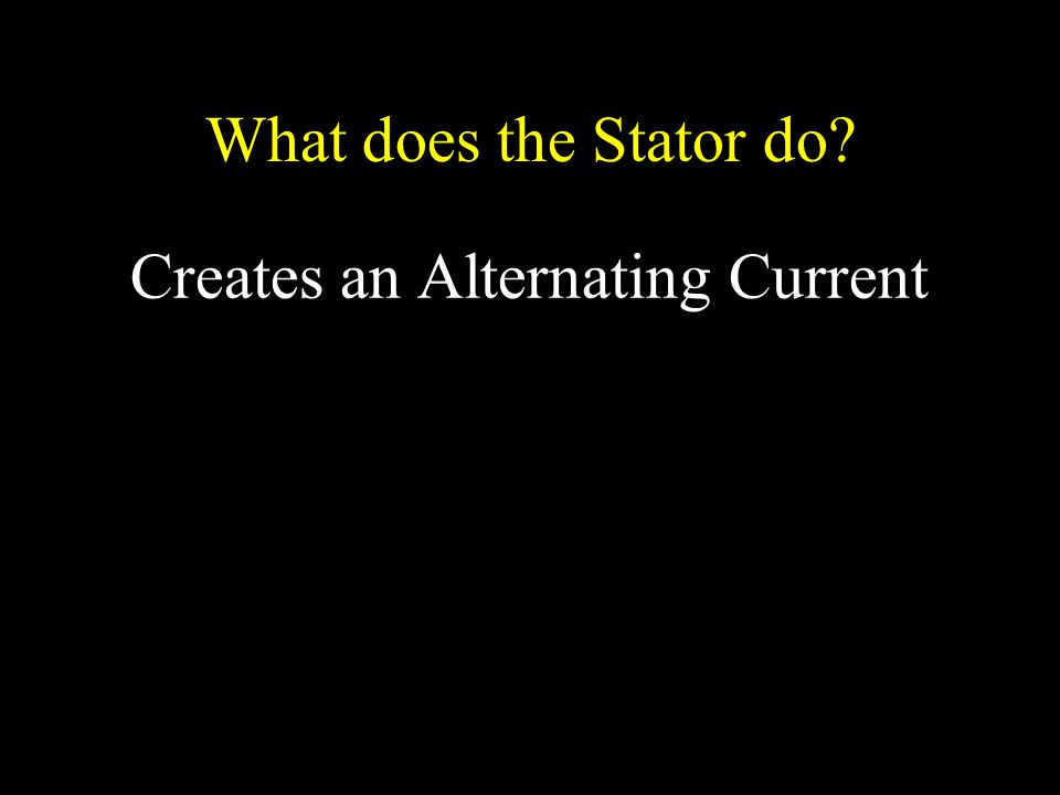 What does the Stator do Creates an Alternating Current
