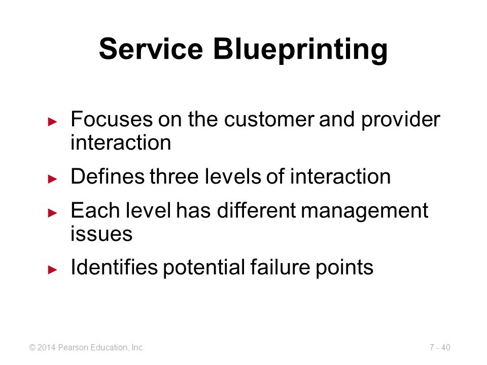 Service Blueprinting Focuses on the customer and provider interaction