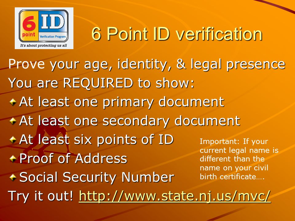 6 Point ID verification Prove your age, identity, & legal presence
