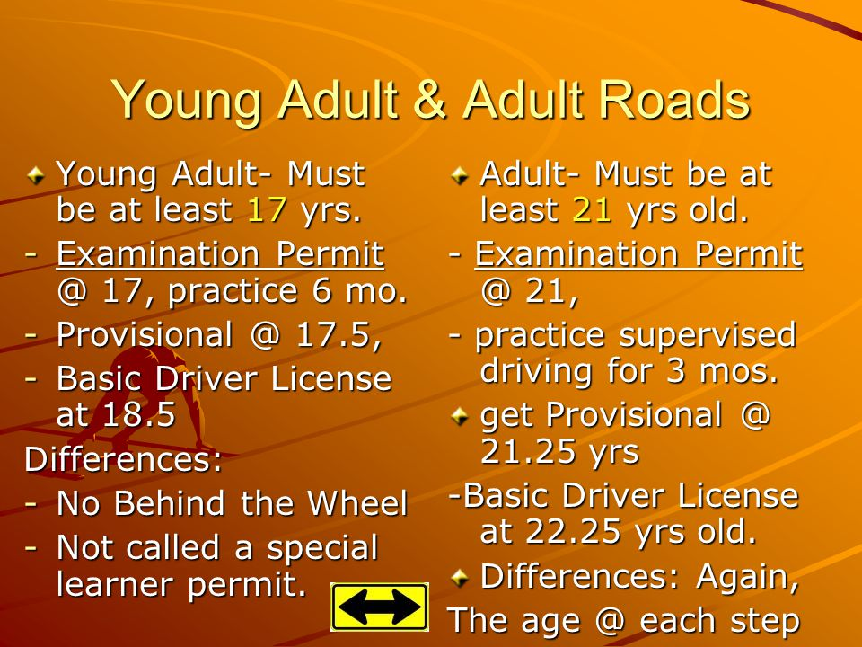 Young Adult & Adult Roads