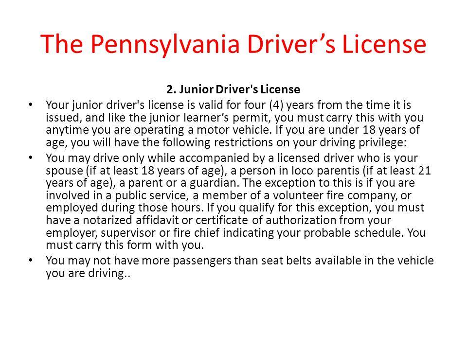 pa junior drivers license laws