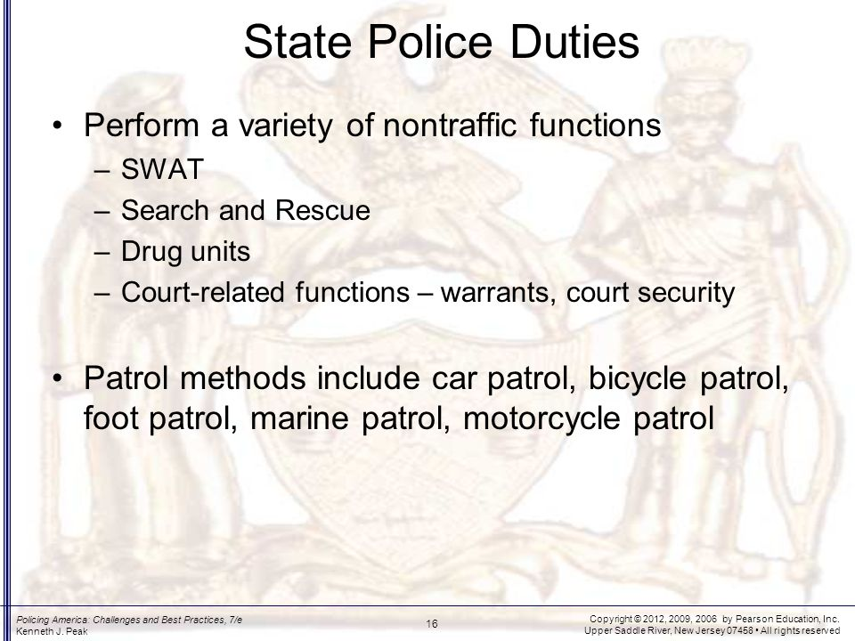 State Police Duties Special purpose state agencies