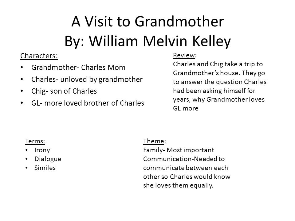the use of dialogue in william melvin kellys a visit to grandmother Organized by the elements of fiction and comprised primarily of writing exercises, this text helps students hone and refine their craft with a practical, hands-on approach to writing fiction.