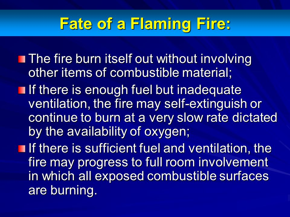 Fate of a Flaming Fire: The fire burn itself out without involving other items of combustible material;