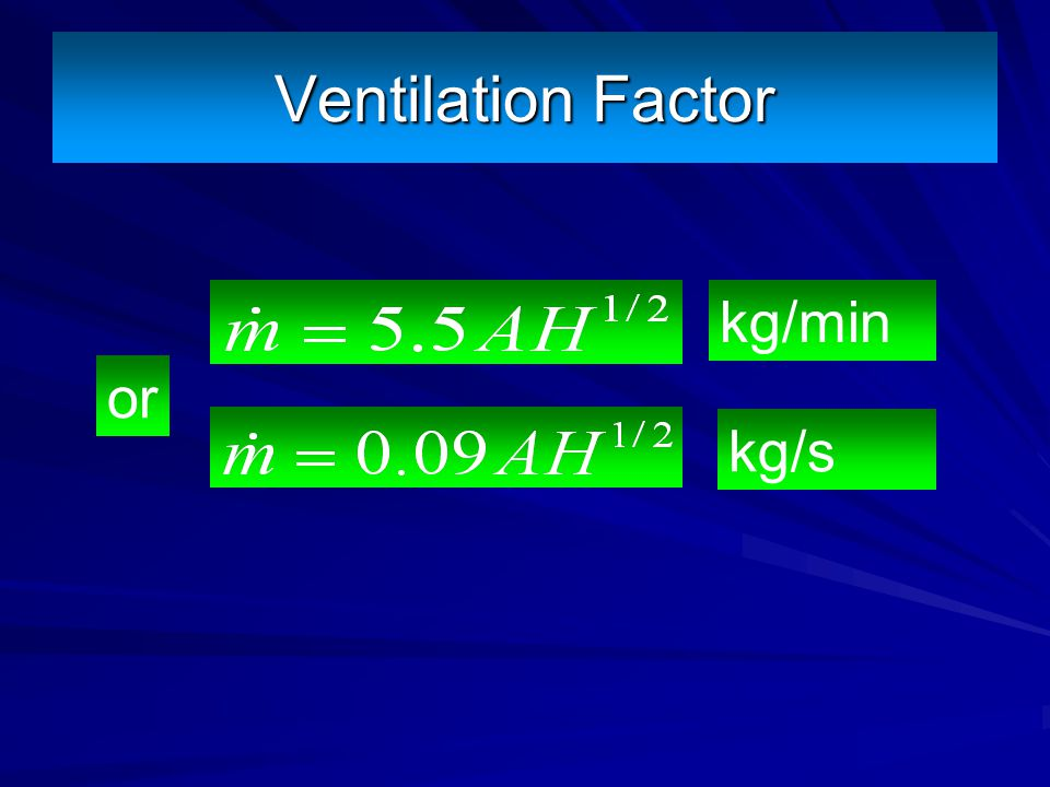 Ventilation Factor kg/min or kg/s