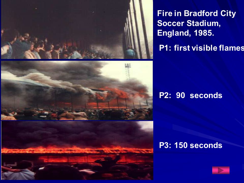 Fire in Bradford City Soccer Stadium, England, 1985.