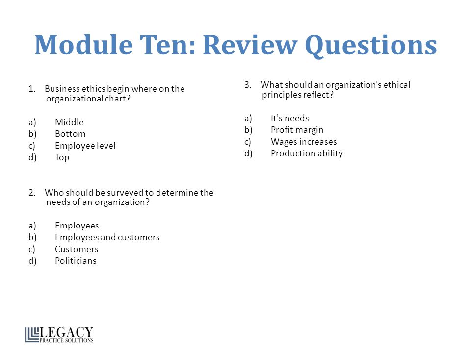 Module Ten Review Questions