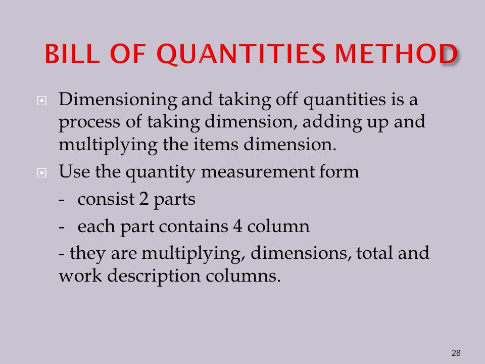 Taking off and estimating ppt video online download bill of quantities method altavistaventures Choice Image