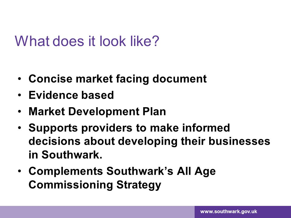 What does it look like Concise market facing document Evidence based