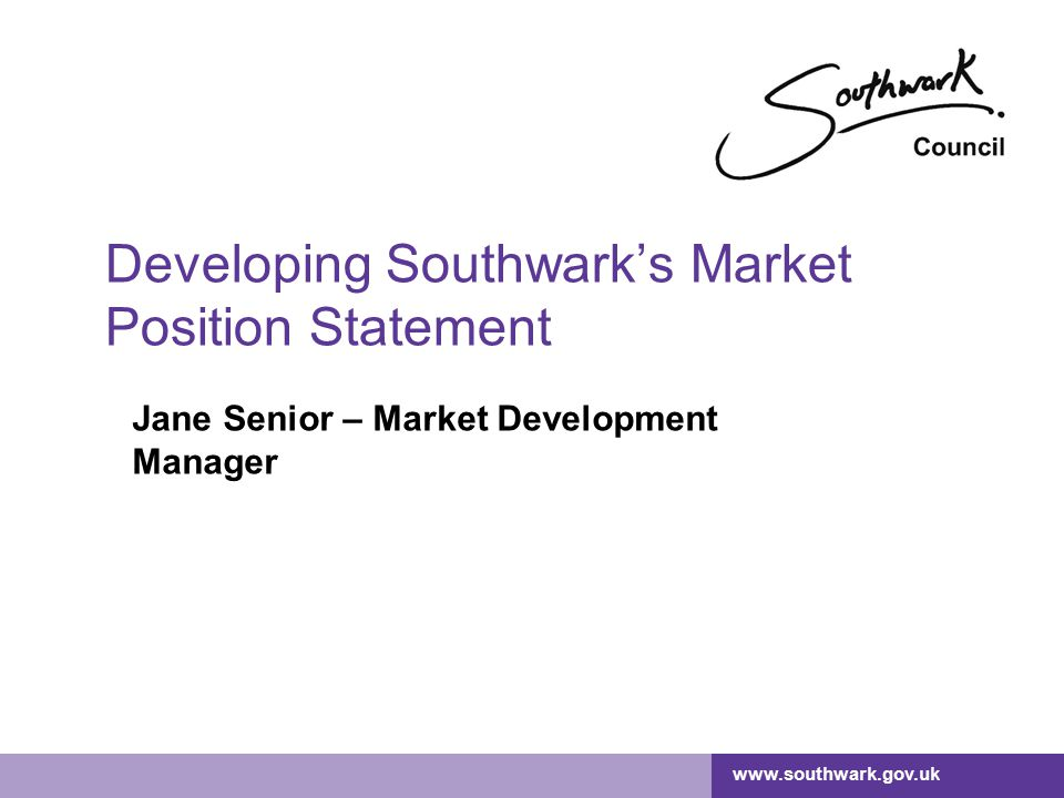 Developing Southwark's Market Position Statement