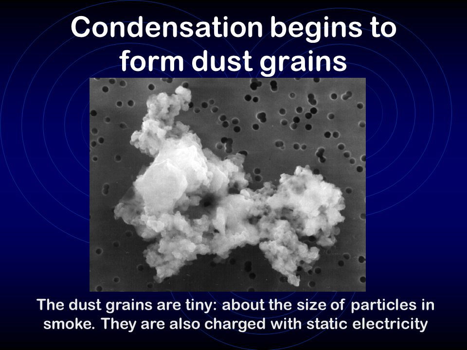 Condensation begins to form dust grains