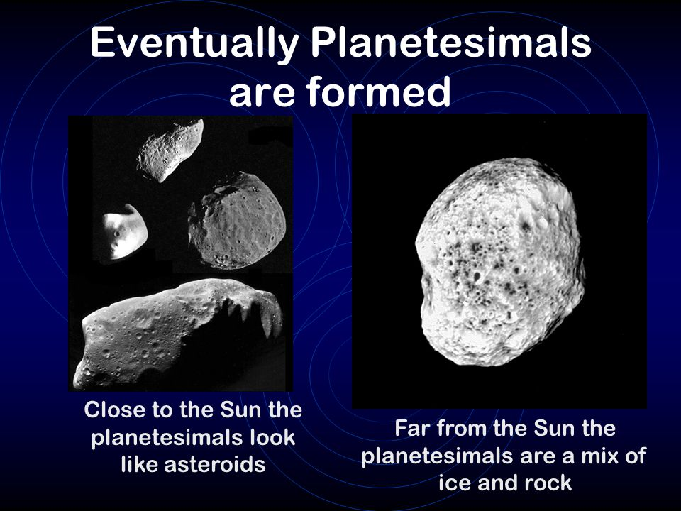 Eventually Planetesimals are formed