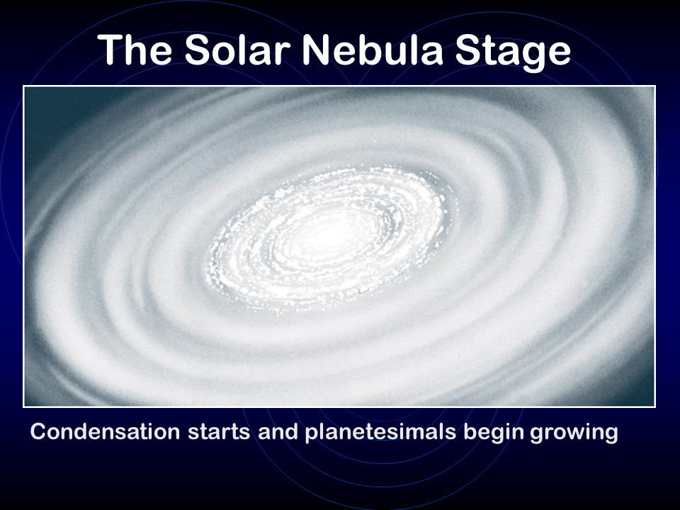 The Solar Nebula Stage Condensation starts and planetesimals begin growing