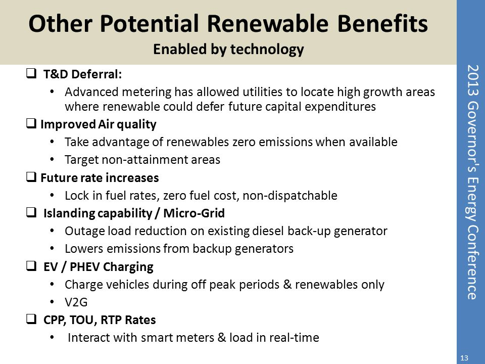 Other Potential Renewable Benefits Enabled by technology