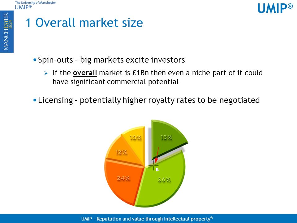 1 Overall market size Spin-outs - big markets excite investors