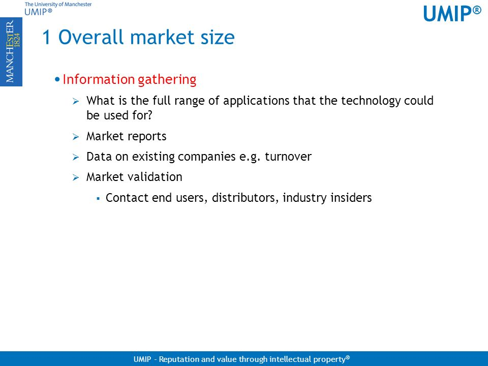 1 Overall market size Information gathering