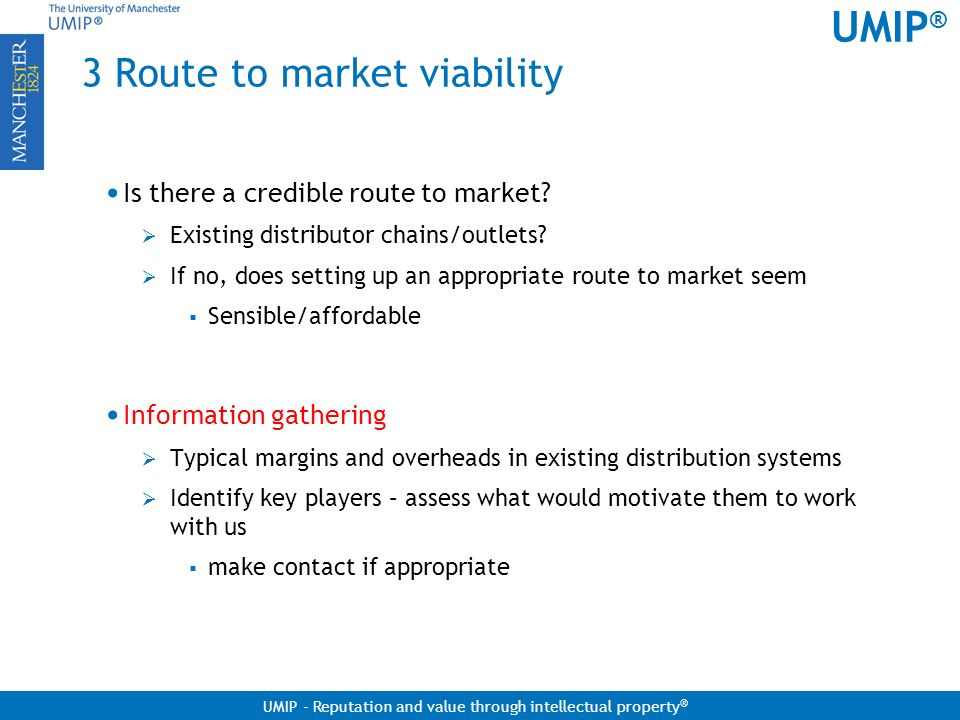 3 Route to market viability