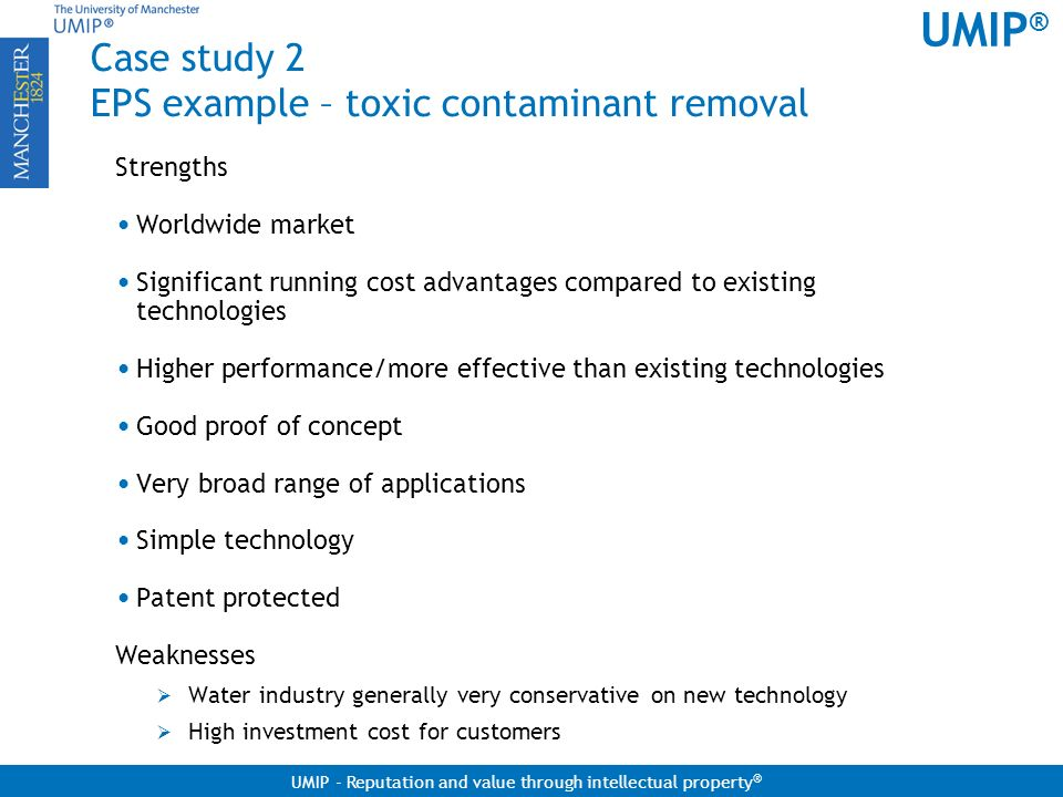 Case study 2 EPS example – toxic contaminant removal