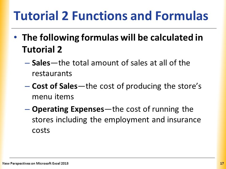Tutorial 2 Functions and Formulas