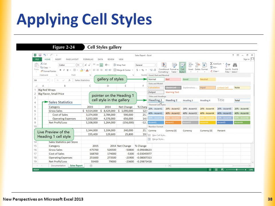 Applying Cell Styles New Perspectives on Microsoft Excel 2013