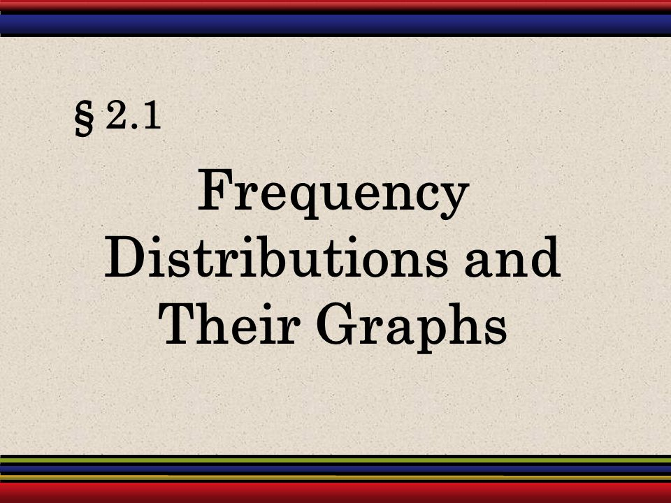 Frequency Distributions and Their Graphs