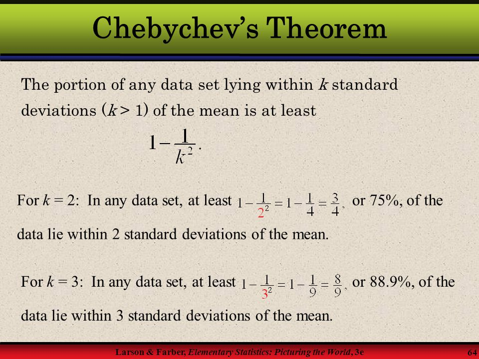 Chebychev's Theorem The portion of any data set lying within k standard deviations (k > 1) of the mean is at least.