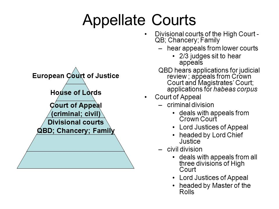 Appellate Courts Divisional courts of the High Court - QB; Chancery; Family. hear appeals from lower courts.