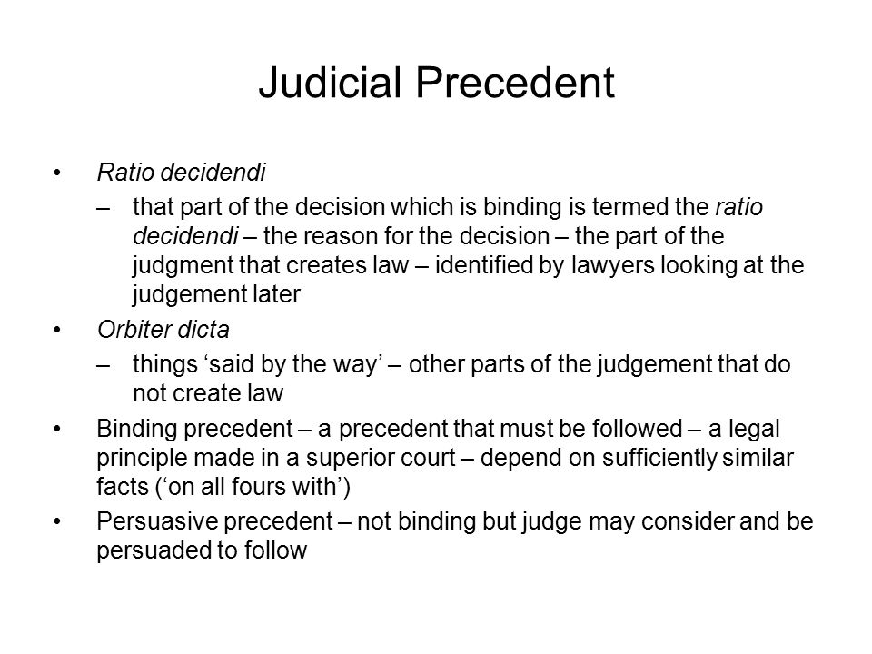 Judicial Precedent Ratio decidendi