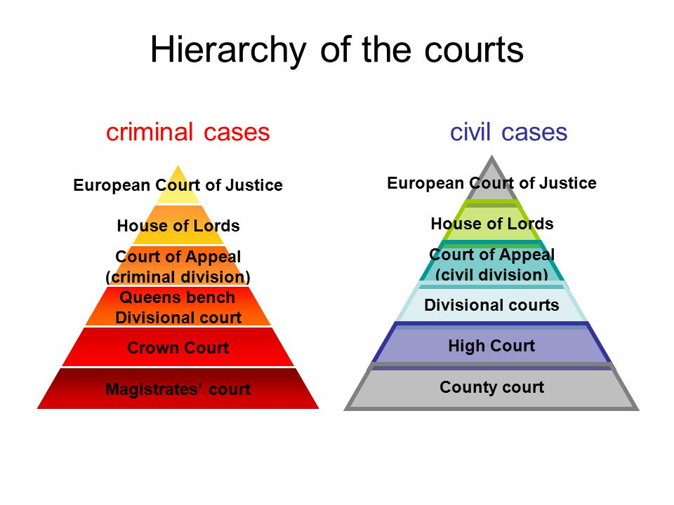 Hierarchy of the courts criminal cases civil cases