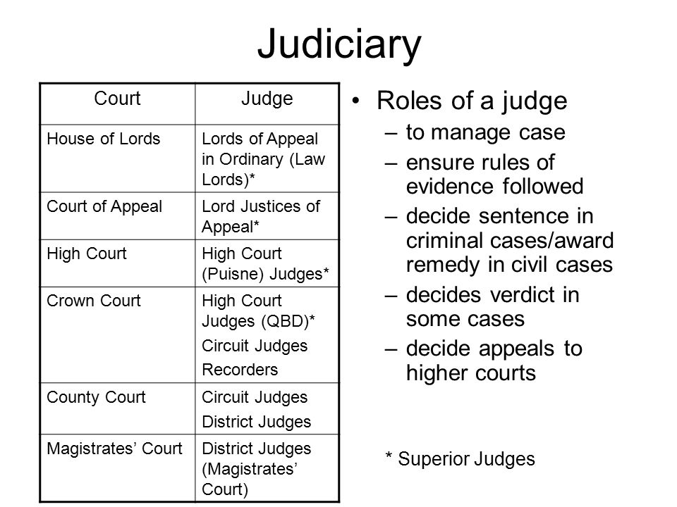 Judiciary Roles of a judge to manage case