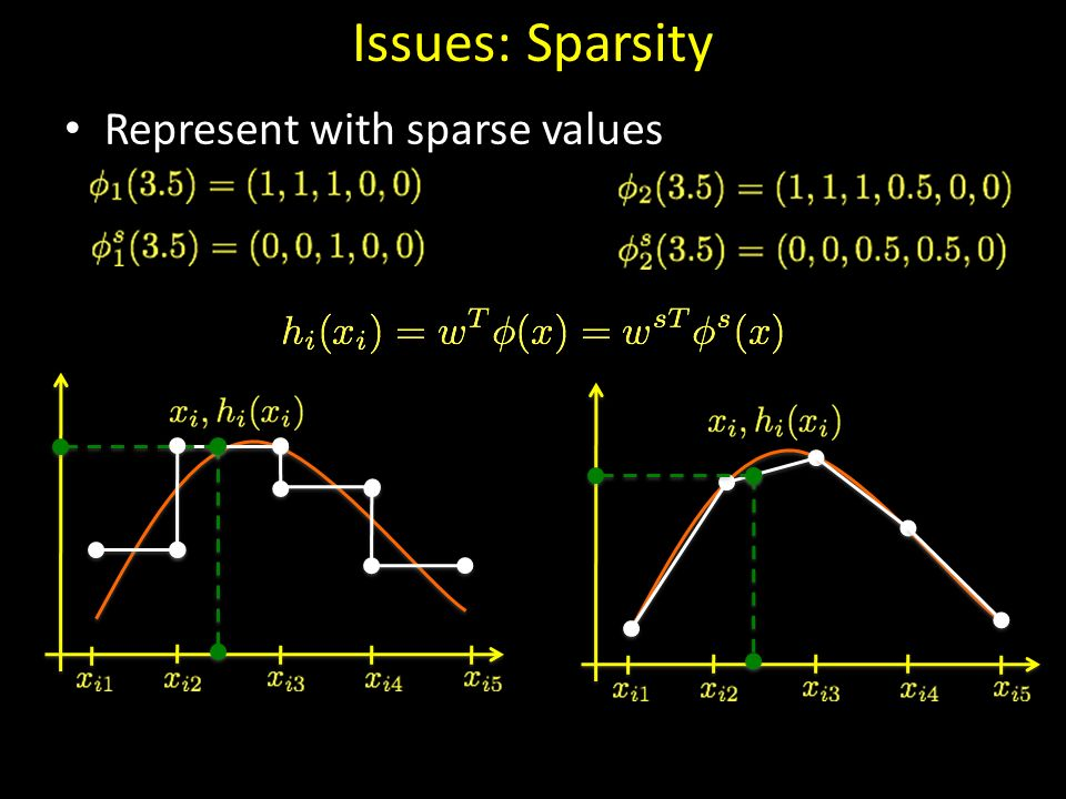 Issues: Sparsity Represent with sparse values