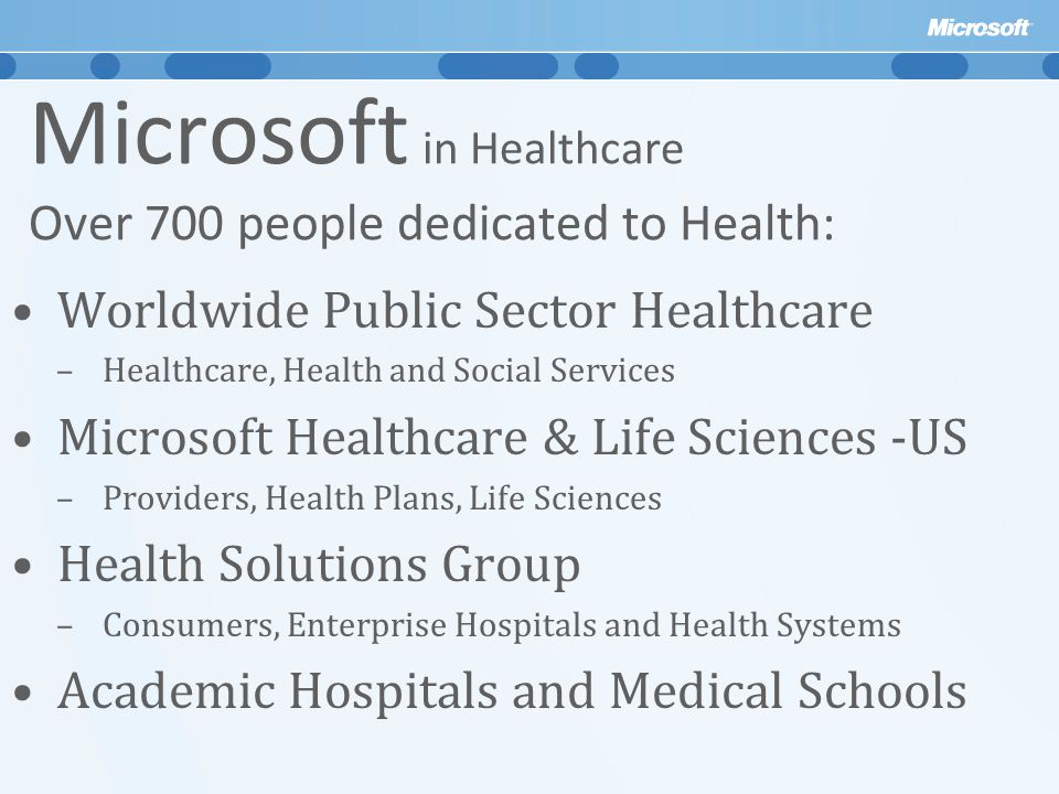 Microsoft in Healthcare Over 700 people dedicated to Health: