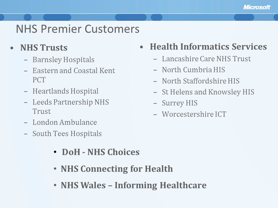 NHS Premier Customers Health Informatics Services NHS Trusts