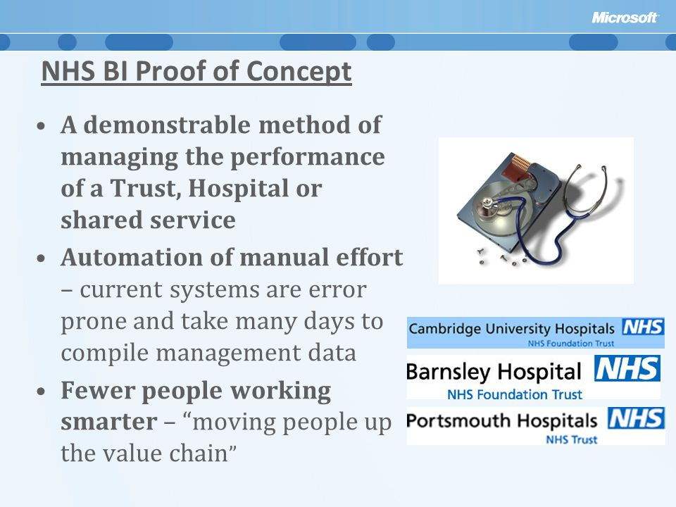 NHS BI Proof of Concept A demonstrable method of managing the performance of a Trust, Hospital or shared service.