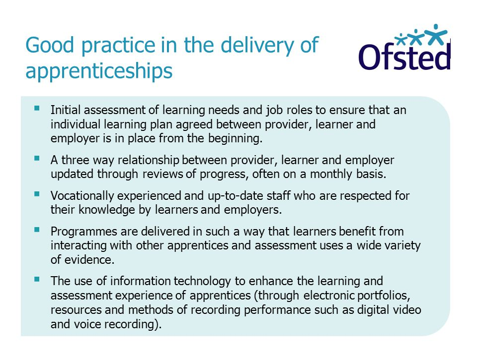 Good practice in the delivery of apprenticeships