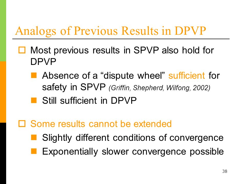 Analogs of Previous Results in DPVP