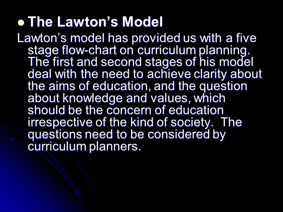 The Lawton's Model